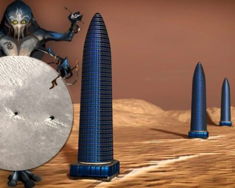 artificial towers on mars